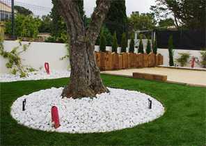 Gérer les obstacles qui se trouvent au milieu du gazon : troncs d'arbres, éléments de décoration, rochers etc... 5
